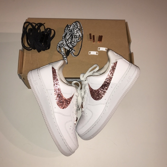 Nike Air Force 1 Rose Gold Glitter Sneakers Shoes f2163c7595